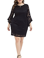 cheap -Women's Sheath Dress Short Mini Dress - Long Sleeve Solid Color Summer Work 2020 Black XL XXL XXXL XXXXL