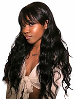 cheap -Remy Human Hair Wig Long Body Wave With Bangs Natural Black Fashionable Design Party Women Capless Women's Natural Black 20 inch / For Black Women