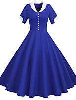 cheap -Vintage Inspired Dress Women's Buckle Costume Light Sky Blue / Yellow / Blushing Pink Vintage Cosplay Home Short Sleeve Midi A-Line