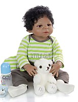 cheap -KEIUMI 22 inch Black Dolls Reborn Doll Baby & Toddler Toy Reborn Toddler Doll Baby Boy Gift Cute Washable Lovely Parent-Child Interaction Full Body Silicone 23D39-C231-T19 with Clothes and Accessories