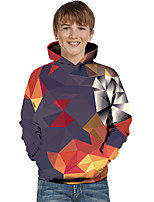 cheap -Kids Toddler Boys' Active Basic Rubik's Cube Geometric Color Block Long Sleeve Hoodie & Sweatshirt Red