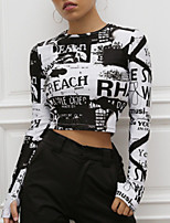 cheap -Women's T shirt Tie Dye Shirt Tee / T-shirt Black Artistic Style Crop Top Crew Neck Cotton Cute Artwork Contemporary Sport Athleisure T Shirt Long Sleeve Lightweight Breathable Soft Yoga Tennis