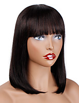 cheap -Remy Human Hair Wig Medium Length Natural Straight Bob With Bangs Natural Natural New Arrival Cool Capless Women's Natural Black 12 inch / For Black Women