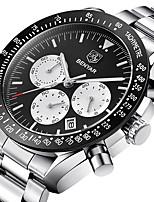 cheap -BENYAR Men's Sport Watch Quartz Modern Style Sporty Casual Water Resistant / Waterproof Stainless Steel Leather Black / Silver Analog - Black / Silver White+Silver Black / Calendar / date / day