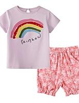 cheap -Kids Girls' Basic Print Short Sleeve Clothing Set Black