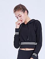 cheap -Women's Hoodie Sweatshirt Hoodies Pullover Cropped Hoodie Hoody Black Stripe Hoodie Stripes Cute Sport Athleisure Top Long Sleeve Breathable Quick Dry Comfortable Yoga Exercise & Fitness Running