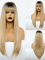 cheap -Synthetic Wig Natural Straight Neat Bang Wig Very Long Light golden Synthetic Hair 28 inch Women's Simple Fashionable Design Women Blonde