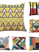 cheap -6 pcs Linen Pillow Cover Creative Colorful Geometric Linen Pillow Case Car Pillow Cushion Sofa Pillow Pillow Office Nap Pillow