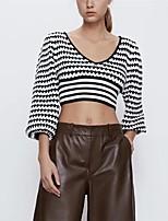 cheap -Women's Blouse Striped Print V Neck Tops Lantern Sleeve Slim Fall Black