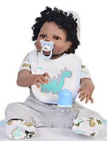 cheap -KEIUMI 22 inch Black Dolls Reborn Doll Baby & Toddler Toy Reborn Toddler Doll Baby Boy Gift Cute Washable Lovely Parent-Child Interaction Full Body Silicone 23D39-C214 with Clothes and Accessories