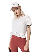 cheap -Women's Blouse Solid Colored Patchwork Round Neck Tops Cotton Basic Spring Summer White Orange Light Green