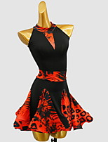 cheap -Latin Dance Dress Pattern / Print Girls' Training Daily Wear Sleeveless Cotton
