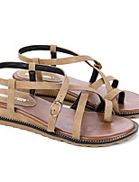 cheap -Women's Sandals Roman Shoes / Gladiator Sandals Flat Heel Open Toe Daily PU Summer Almond / Black