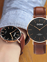 cheap -DOM Men's Sport Watch Quartz Sporty Casual Water Resistant / Waterproof Genuine Leather Black / Brown Analog - Black+Gloden Black Black / White