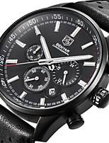 cheap -BENYAR Men's Sport Watch Quartz Modern Style Sporty Casual Water Resistant / Waterproof Leather Black Analog - Black Black / White / Calendar / date / day / Chronograph