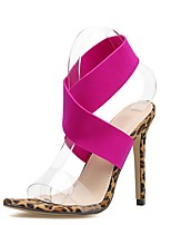 cheap -Women's Sandals Summer Stiletto Heel Open Toe Daily Leopard Solid Colored PU Fuchsia