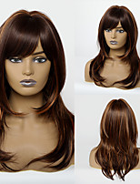 cheap -Synthetic Wig Body Wave With Bangs Wig Medium Length Brown / Burgundy Synthetic Hair 20 inch Women's Women Waterfall Youth Brown