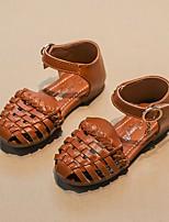 cheap -Girls' Sandals Comfort PU Little Kids(4-7ys) Black / Brown / Beige Summer