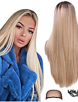 cheap -Synthetic Wig kinky Straight Middle Part Wig Long Light Blonde Synthetic Hair 22 inch Women's New Arrival Middle Part Waterfall Blonde