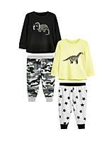 cheap -Kids Girls' Basic Dinosaur Cartoon Print Long Sleeve Short Clothing Set Black