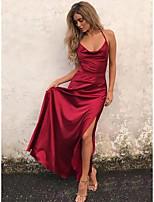 cheap -A-Line Beautiful Back Sexy Engagement Prom Formal Evening Dress Spaghetti Strap Sleeveless Floor Length Satin with Ruffles Split 2020