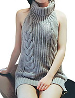 cheap -Women's Solid Colored Pullover Sleeveless Sweater Cardigans Stand Fall Wine White Black