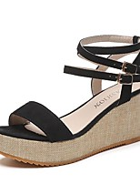 cheap -Women's Sandals Summer Wedge Heel Peep Toe Daily Solid Colored PU Black / Gray