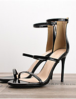 cheap -Women's Sandals Summer Stiletto Heel Round Toe Daily PU Nude / White / Black