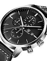 cheap -BENYAR Men's Sport Watch Quartz Modern Style Sporty Stainless Steel Leather Water Resistant / Waterproof Calendar / date / day Chronograph Analog Casual Cool - Golden / Brown Black / Silver White+Blue