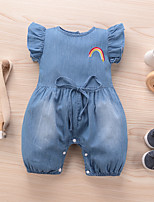 cheap -Baby Girls' Active Basic Blue Solid Colored Embroidered Sleeveless Bodysuit Blue
