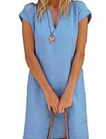 cheap -Women's Sheath Dress Knee Length Dress - Short Sleeve Solid Color Summer Elegant 2020 White Blue Yellow Navy Blue Light Blue M L XL XXL XXXL XXXXL