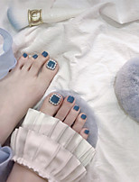 cheap -Pearl Haze Blue Toe Nails Wearing Nail Art Patches Finished Products 24 Fake Nails Foot Patches