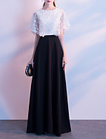 cheap -A-Line Color Block Elegant Wedding Guest Formal Evening Dress Jewel Neck Short Sleeve Floor Length Lace with Lace Insert 2020