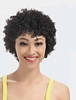 cheap -Remy Human Hair Wig Short Afro Curly Kinky Curly Pixie Cut Short Bob Natural Women Sexy Lady New Capless Peruvian Hair Women's Natural Black #1B 6 inch