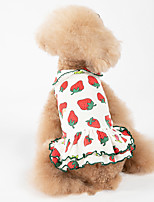cheap -Dog Dress Pajamas Floral Botanical Casual / Sporty Cute Party Casual / Daily Dog Clothes Warm Red Costume Cotton XXXS XXS XS S M L