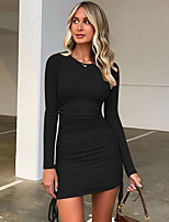 cheap -Women's A-Line Dress Short Mini Dress - Long Sleeve Solid Color Patchwork Spring Summer Sexy Daily Cotton Slim 2020 White Black Khaki S M L
