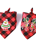 cheap -Dog Cat Bandanas & Hats Dog Bandana Dog Bibs Scarf Plaid / Check Cartoon Reindeer Party Cute Christmas Party Dog Clothes Adjustable Costume Fabric L