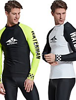 cheap -Men's Rash Guard Elastane Top Breathable Quick Dry Long Sleeve Swimming Diving Water Sports Patchwork Autumn / Fall Spring Summer / Stretchy
