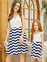 cheap -Mommy and Me Active Sweet Blue & White Striped Geometric Color Block Lace Print Sleeveless Knee-length Dress Blue