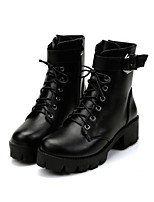 cheap -Women's Boots Fall Cuban Heel Round Toe Daily PU Black
