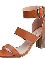 cheap -Women's Sandals Summer Block Heel Open Toe Casual Daily Solid Colored PU White / Black / Brown