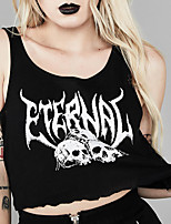 cheap -Women's T shirt Crop Top Tee / T-shirt Black Vintage Style Crop Top Jewel Neck Cotton Cute Vintage Sport Athleisure T Shirt Sleeveless Lightweight Breathable Soft Exercise & Fitness Running Everyday