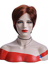 cheap -Synthetic Wig Natural Straight Asymmetrical Wig Short Strawberry Blonde#27 Synthetic Hair 8 inch Women's Party Brown