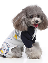 cheap -Dog Jumpsuit Pajamas Cartoon Casual / Sporty Cute Casual / Daily Weekend Dog Clothes Warm White Black Yellow Costume Polyester XS S M L XL