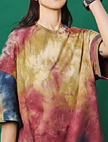 cheap -Women's T shirt Tie Dye Shirt Tee / T-shirt Black Blue Oversized Tie Dye Crew Neck Multi Color Cute Sport Athleisure T Shirt Short Sleeves Lightweight Breathable Soft Everyday Use Daily Casual