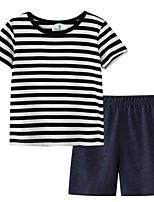 cheap -Kids Boys' Basic Striped Short Sleeve Clothing Set Black