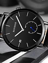 cheap -RONMAR Men's Sport Watch Quartz Modern Style Stylish Casual Water Resistant / Waterproof Stainless Steel Leather Black Analog - Black Black / White