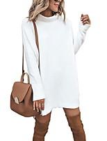 cheap -Women's A-Line Dress Short Mini Dress - Long Sleeve Solid Color Summer Casual 2020 White Black Blue Gray S M L XL