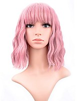 cheap -Synthetic Wig Curly Weave With Bangs Wig Long Pink Black Purple Synthetic Hair 12 inch Women's New Arrival Fashion Comfortable Black