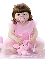 cheap -KEIUMI 22 inch Reborn Doll Baby & Toddler Toy Reborn Toddler Doll Baby Girl Gift Cute Washable Lovely Parent-Child Interaction Full Body Silicone 23D09-C55-H105-T21 with Clothes and Accessories for